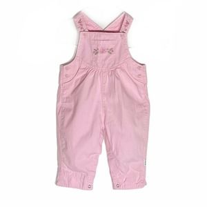 Little Me Pink Cotton vtg embroidered overall 9M